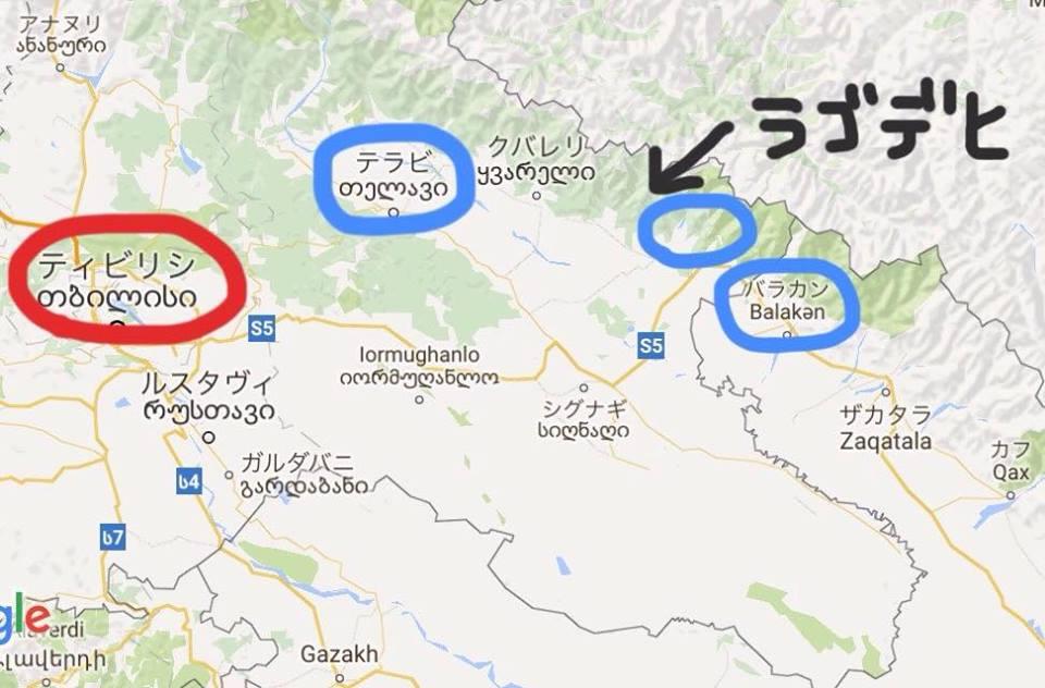 3つの場所の位置