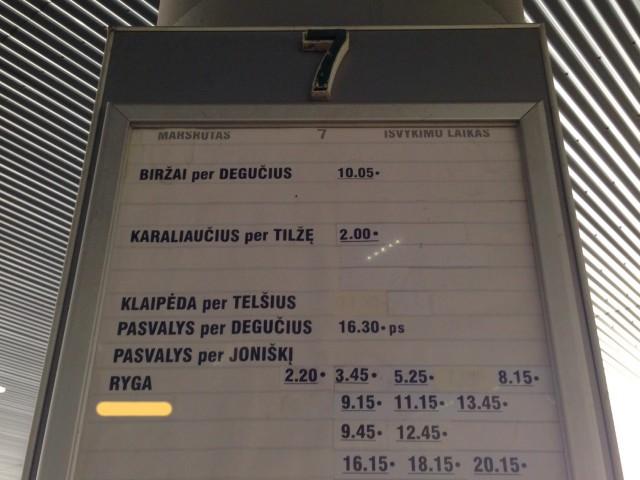 リガへ戻るバス時刻表