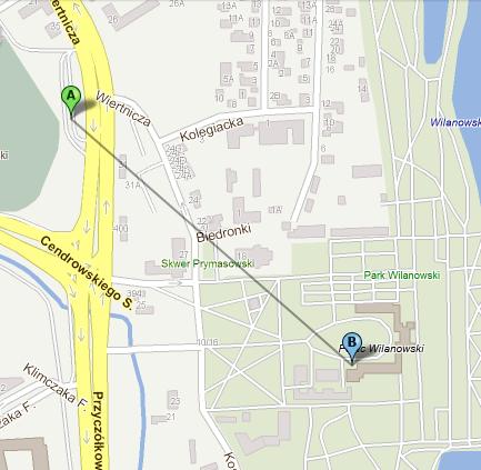 バス停から宮殿までは650m