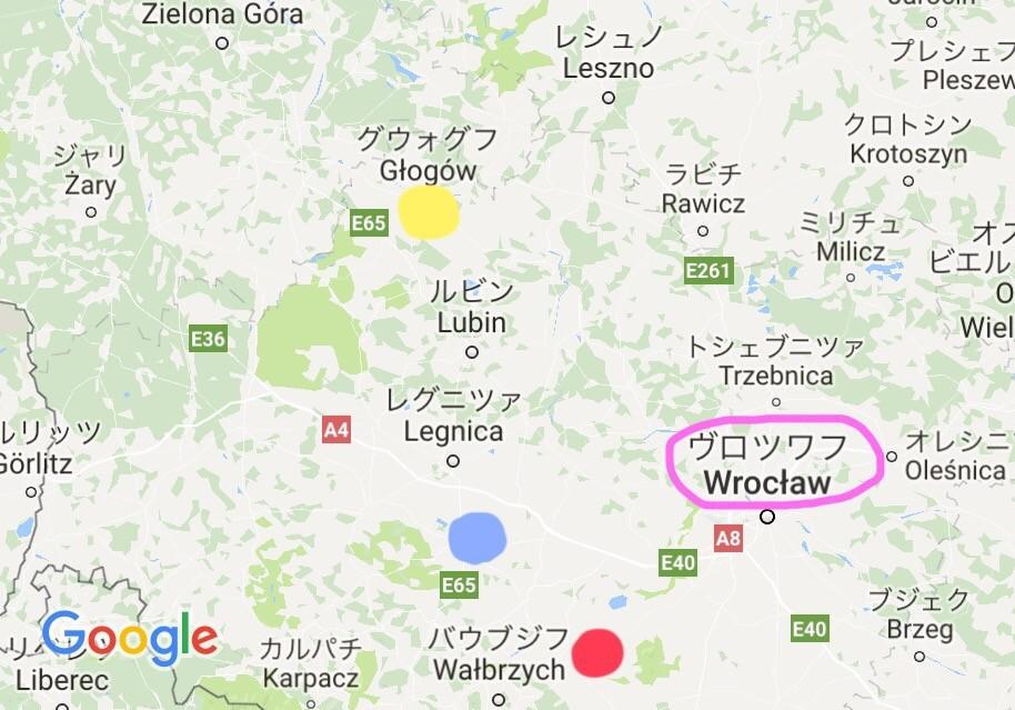 黄=グウォウフ 青=ヤヴォル 赤=シフィドニツァ