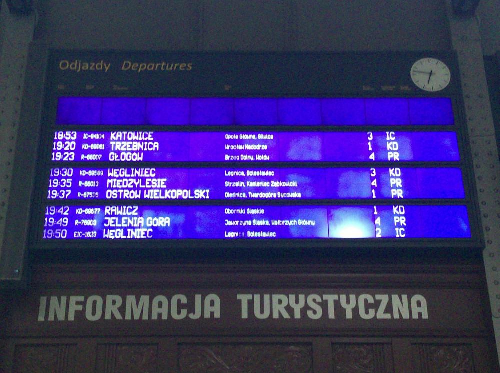 ヴロツワフ中央駅の電光掲示板