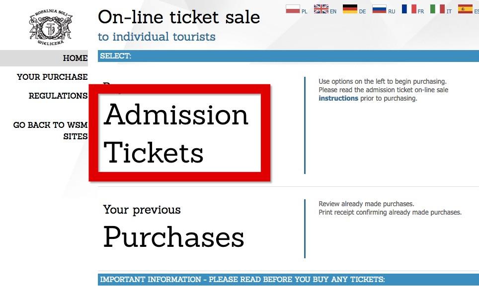 Admission Tickets をクリック