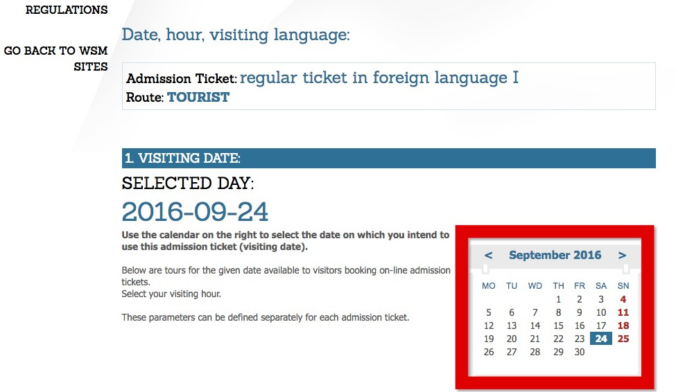 カレンダーから日付を選択
