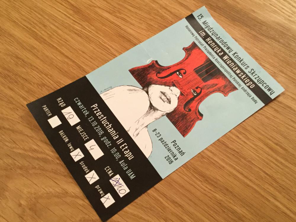 コンクールの観客用チケット