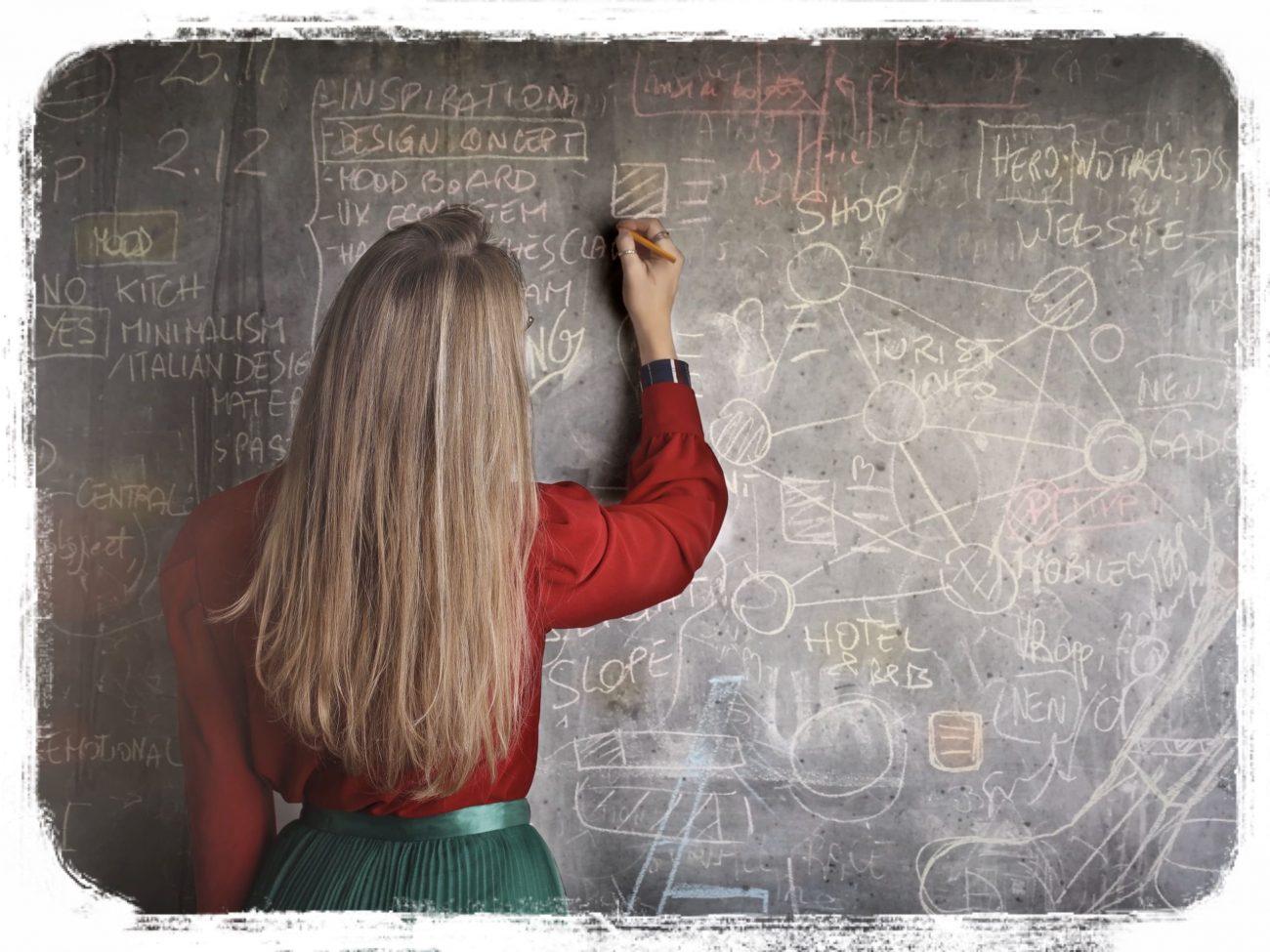 黒板と女性