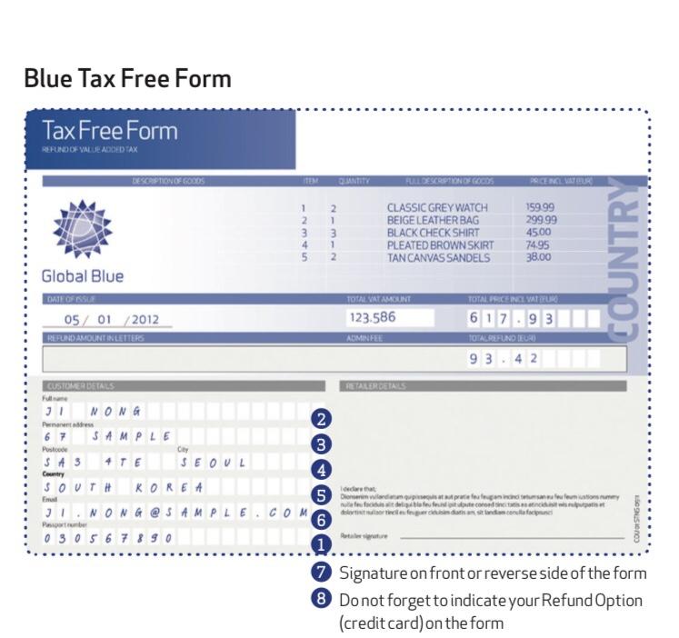 グローバルブルー免税フォーム